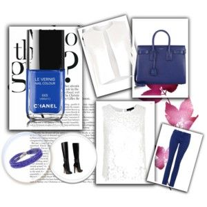abbinamento con lo smalto vibrato di chanel: top e cardigan bianco, jeans, borsa blu e stivali.
