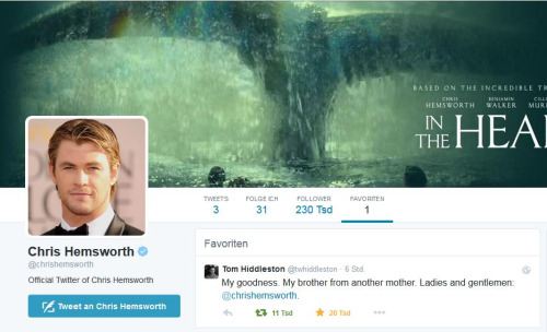 Tom Hiddleston scrive a Chris Hemsworth