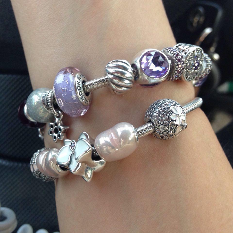 bracciali pandora rosa e viola
